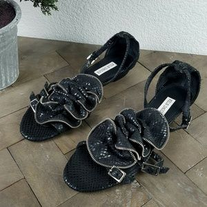 Kelsi Dagger Black Floral Leather Sandals Size 8.5